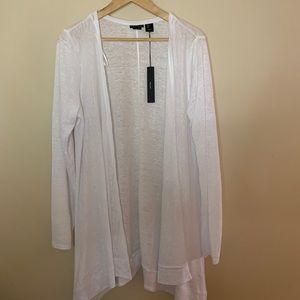 Tahari White Linen Cardigan